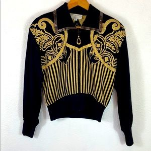 St. John Collection black gold Santana jacket P